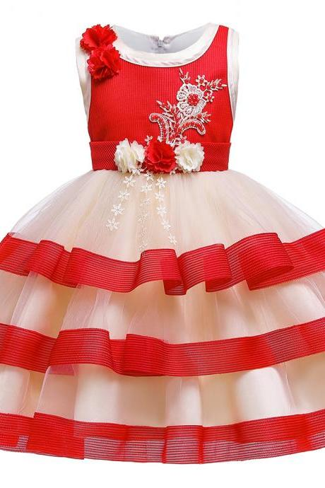 2019 Flower Girl Dress Layered Party Princess costume 3-10 Year Kids Children's clothing