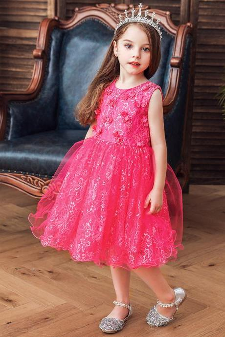 Lace Flower Tutu Princess Dress Baby Girls Bow Show Flower Kids Girl Party Dress Children's Formal Wedding Dress