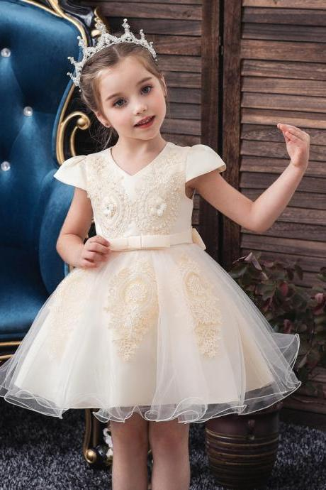 Flower Girl Dresse Elegant Print O-neck Girls Pageant Apliques Short Baptism party Wedding children dress