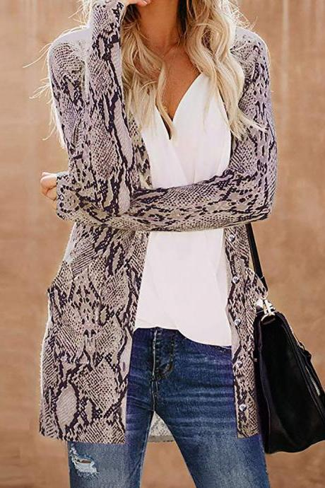 Spring Autumn New women Print Cardigan Long Sleeve Long coat Jacket