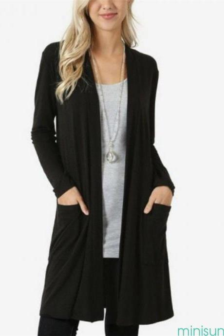 Women Long Sleeve Cardigan Jacket Outwear Casual Loose Flyaway Open Front Coat