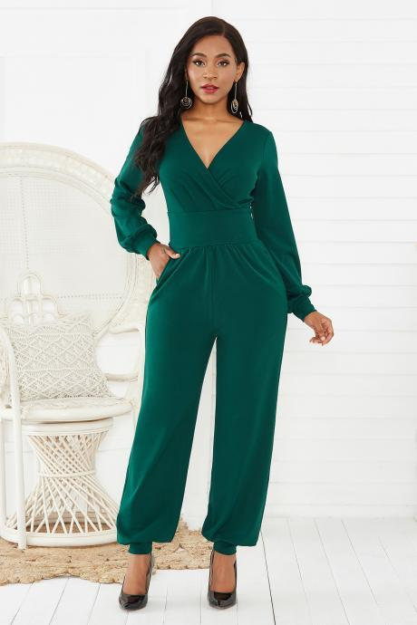 Autumn Women Long Sleeve Jumpsuit Sexy V Neck Lantern Sleeve High Waist Wide Leg Tie Female Big Size Rompers