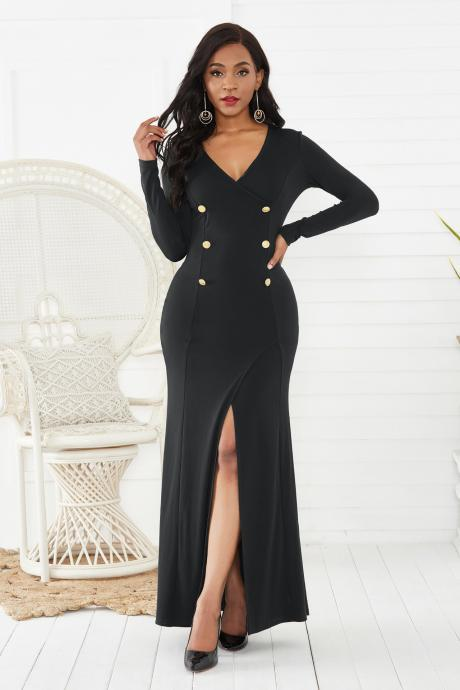 Sexy Women Dress 2019 Long Sleeve Autumn Winter New V Neck Hip split Fashion Party Banquet Dress