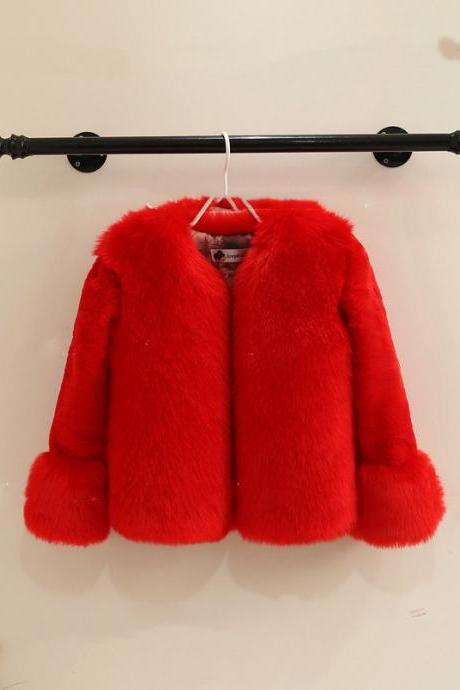 New fur children's clothing jacket stitching thick small children's shirt girls coat children's fur coat