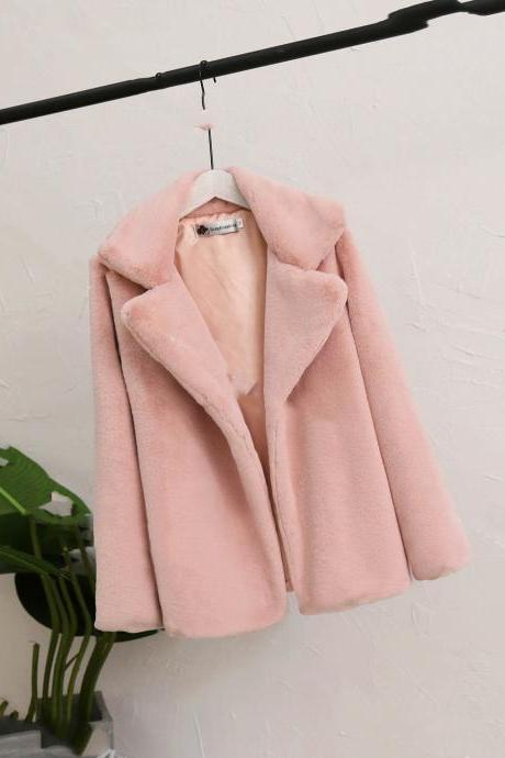 women Autumn winter coat thick loose fur coat fur long section was thin solid jacket