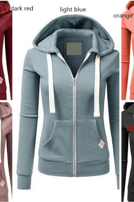 Women Casual Zipper Hoodie Hooded Sweatshirt Coat Jacket Jumper Sweater Top