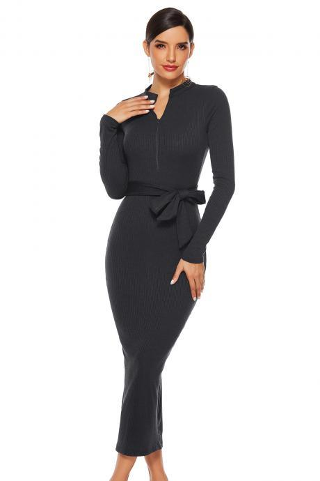 Fall Winter Women dress Long Sleeve Skirt solid Sexy Stand Collar Slim Knit Dress