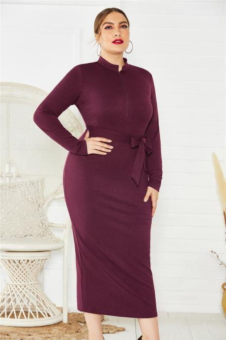 women Autumn winter new sweater dress plus size long-sleeved sexy stand collar slim bottoming sweater knit dress