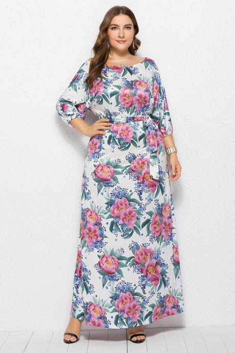 Women round neck 3/4 sleeve maxi dress sexy hip print plus size dress