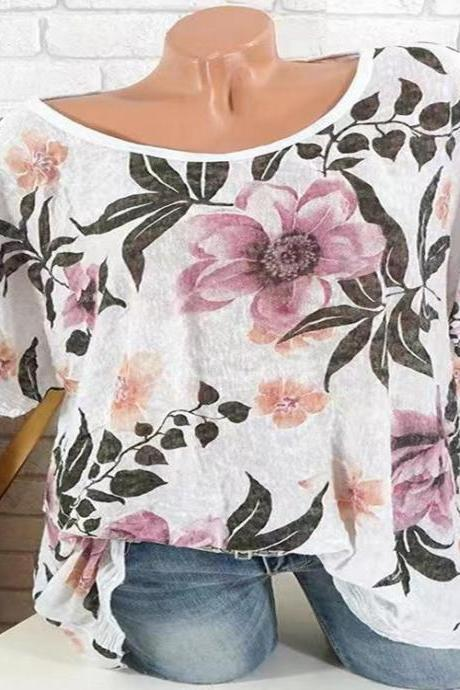 Women Autumn new Blouse round neck fashion print short sleeve shirt tops