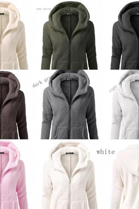 Womens Hooded Sweater Coat Winter Warm Zipper Coat Cotton Coat Outwear Moda