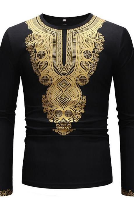 A cool new 2019 men's shirt with simple African print O-Neck long sleeves tops