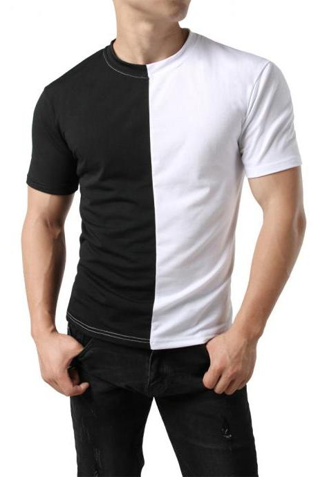 Men Short Sleeve O Neck T-Shirt Summe Casual Panelled Running Top