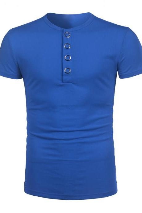 Men Short-sleeved T-shirt Metal Button Design Leisure Athletic Polo Shirt top