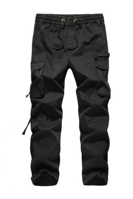 pring Autumn Men casual pant pocket Drawstring solid long Tooling Beam feet trousers