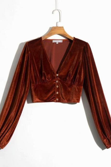 Fashion Women shirt V-neck Single Breasted solid Velvet Long Sleeve Top