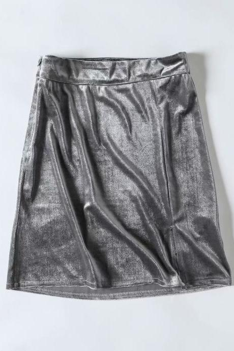 style fashion velvet women new skirt under split solid short skirt