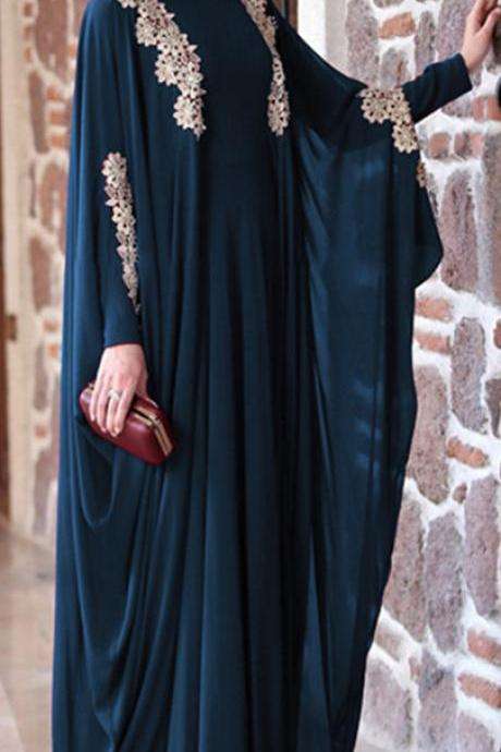 Women Muslim Dress Solid Lace Plus Size Loose Batwing Sleeve Abaya Fahsion Islamic Clothing S-5XL