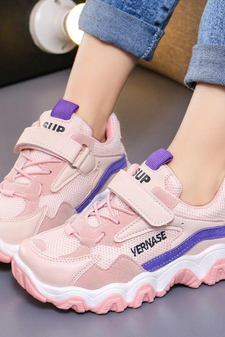 Boys sports shoes girls net red casual running shoes tide children leather breathable travel shoes spring new