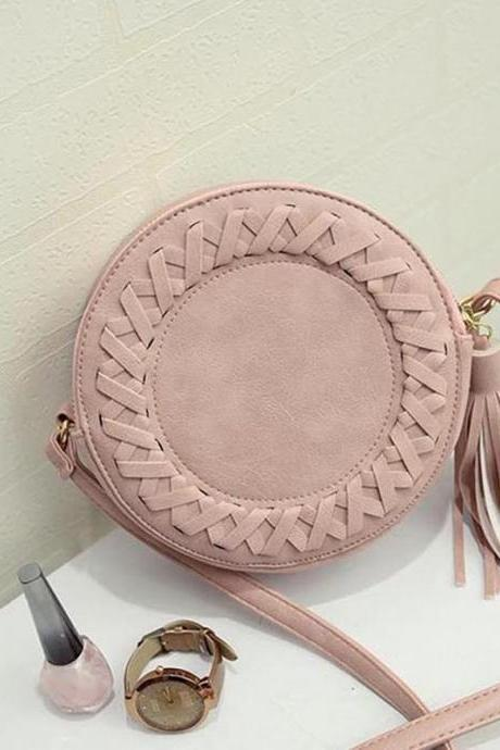 New Korean Fashion Round Woven Tassel Bag Retro Shoulder Crossbody Bag