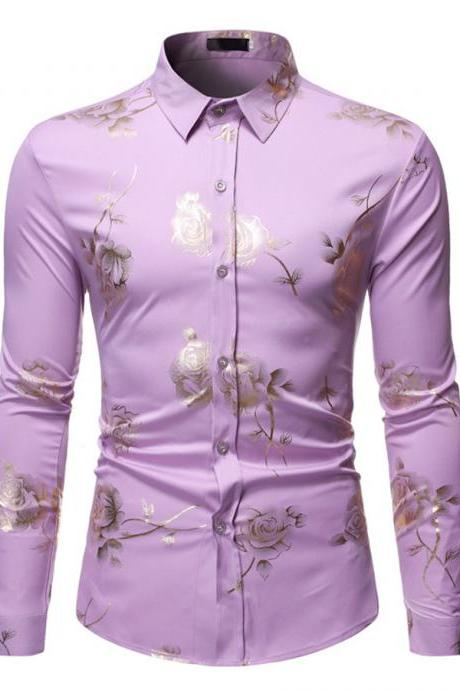 Spring new men lapel shirt bronzing long-sleeved printed button top