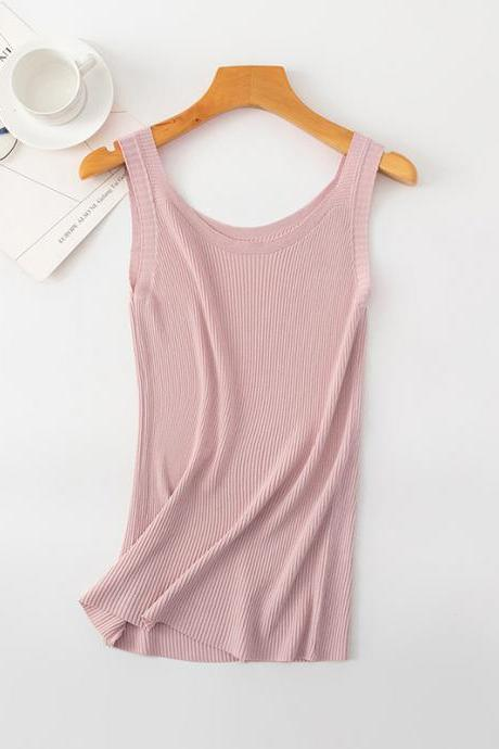 Women Crop Top Club Sexy Knitting Camisole With Hole Female Tank Tops Ladies Sleeveless Solid Simple Tops