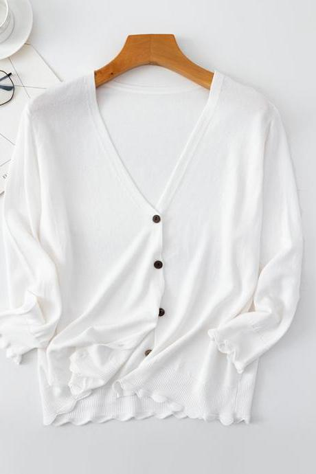 Spring Cardigan Women V-neck Button Down Dropped Long Sleeve Korean Casual Tops