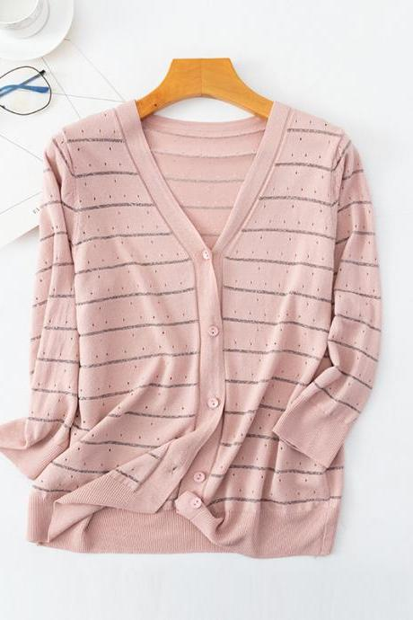 Spring Women Striped Cardigans 2020 Fashion Slim Ladies Knitted Sweater Long Sleeve Buttons Sweater