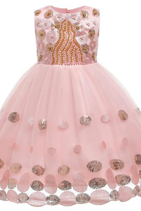 2020 Summer Beading Dress Flowers Girl Kids Dresses Pearl Birthday Party Gowns Sequin Princess Children Clothing