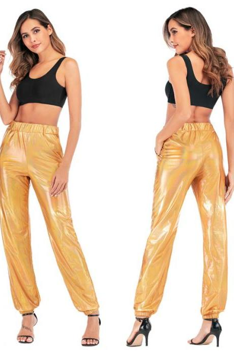Women Pants Shiny Symphony Trousers for Casual Sports Street Hip Hop Team Loose Trousers