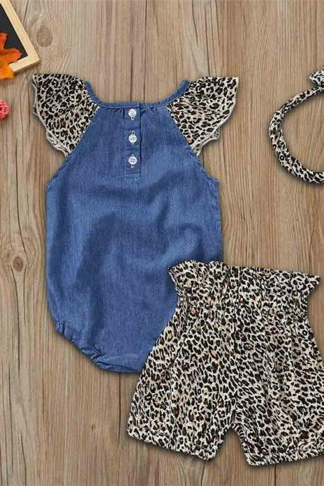 3PCS Baby Girls Denim Set Jumpsuit Romper+Leopard Print Shorts+Headband Outfits