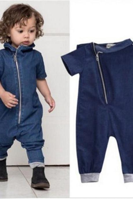 Toddler Kids Denim Romper Fashion Zipper Baby Boy Girl Jumpsuit Outfit Clothes