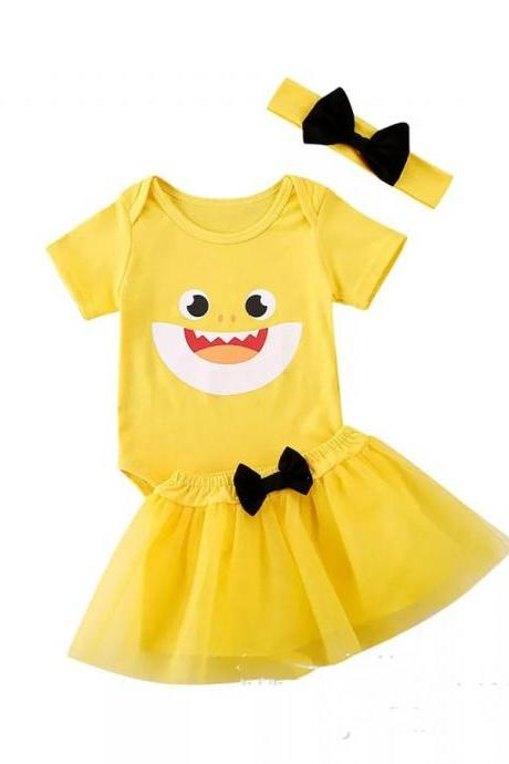 3Pcs Outfits Newborn Infant Baby Girl Shark Tops Romper+Tutu Skirt Kids Clothes