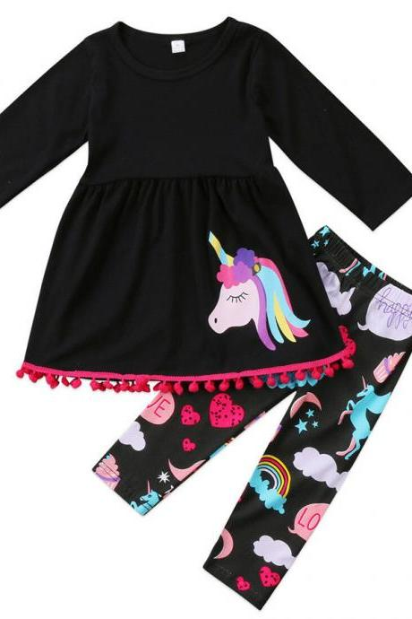 2 PCS Set Unicorn Kid Baby Girl Outfits Clothes T-shirt Tops Dress+Pants Legging