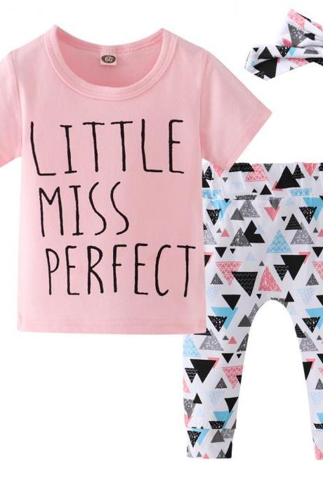 3PCS Set Toddler Baby Girl Clothes short sleeve T-shirt Tops+geometric Pants Headband Outfits