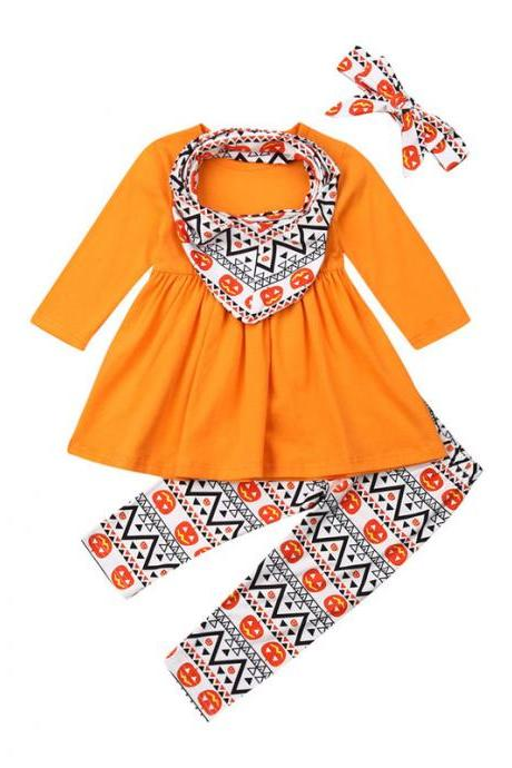 Children clothing baby spring autumn long-sleeved printed skirt Halloween four-piece girl suit