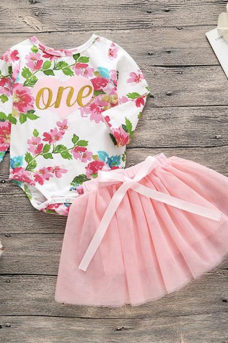 Baby Girls First 1st Birthday Outfits Romper Top+Tutu Skirt Photo Clothes Set