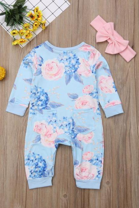 Infant Baby Girl Floral Romper Bodysuit Jumpsuit+Headband Clothes Outfit Blue