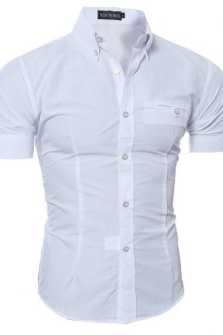 Men Slim Fit Shirt Short Sleeve Style Tops Casual Shirt Buttons Solid Formal Plus Size Top