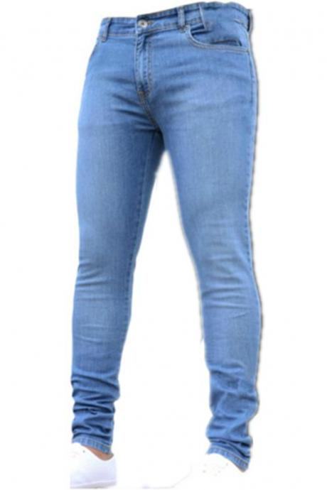 New Summer Men Slim Jeans pants Small Leg stretchable fabric fashion Vintage male jeans Trousers