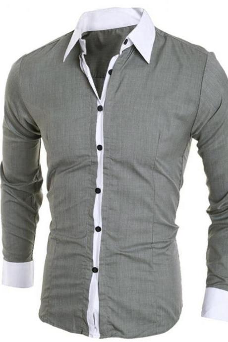 Men Tops Fashion Shirt Casual Slim Long sleeve Solid Shirts Top Blouse