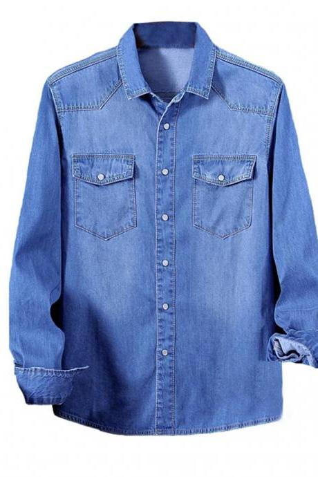 Men Denim shirt coat Long Sleeves slim fit blouse Autumn Fashion Casual business Male Jeans shirt Tops