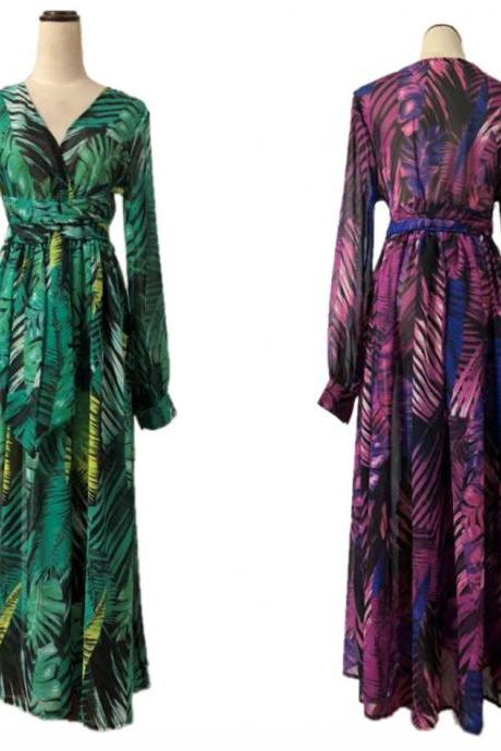 Women V-Neck Dress Boho Long sleeve Dress Ladies Summer Beach Sundress Plus Size Party Evening Maxi Dress