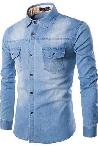 Men Long Sleeve Denim Shirt Casual High Quality Street Wearing Hot Sale Male Jean tops
