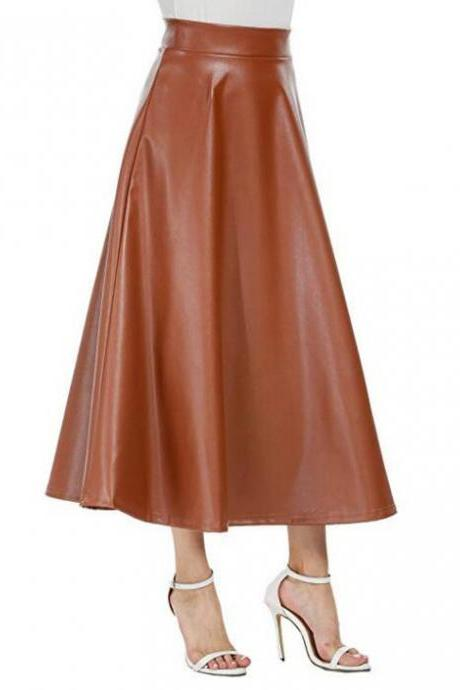 Women Faux Leather Pu Skirt High-waist Fashion A-line solid Midi Spring Ladies Skirts