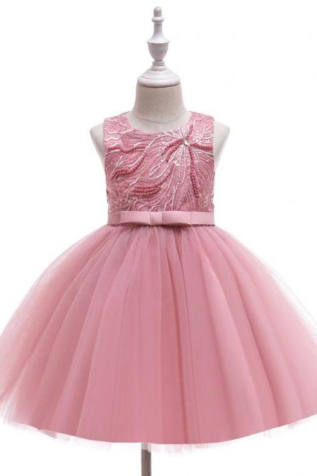 Children girls' fluffy dresses, sleeveless sequins, infants, flower girls, princess dresses, baby one-year-old dresses