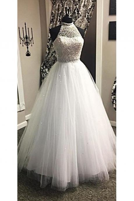 New White Prom Party Dresses Beaded High Neck Princess Tulle A Line Formal Evening Gowns Custom