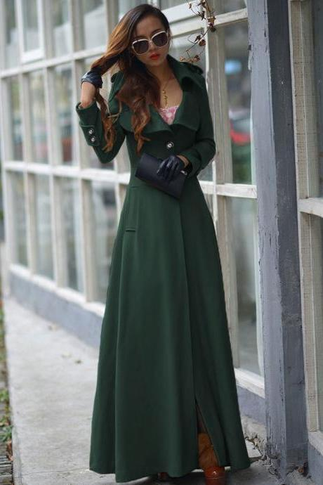 Floor Length Hunter Green Coat Women Jackets Cashmere Blend Long Sleeve Maxi Dress Wool Winter Windbreaker S M L XL 2XL