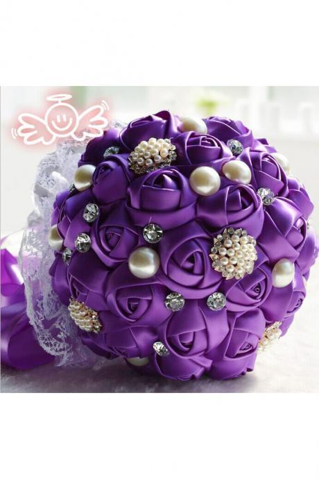 Wedding Silk Pearls Flowers Bridal Bouquets Artificial Rose Luxury Crystal Bouquet purple color