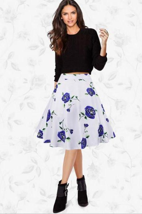 Women Lady Spring Summer Vintage Floral Printed Casual Retro A Line Women Knee Length Skirt C823-Blue Color